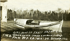Postcards were printed celebrating the successful rescue of the crew of the Waldo by members of the crew of the Eagle Harbor Life Saving Station.